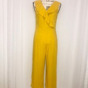 LUCCA COUTURE MUSTARD YELLOW CROP JUMPSUIT